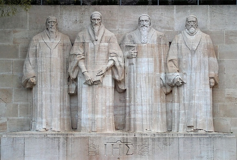 The Reformation Wall, Geneva. From left to right: William Farel, John Calvin, Theodore Beza and John Knox.